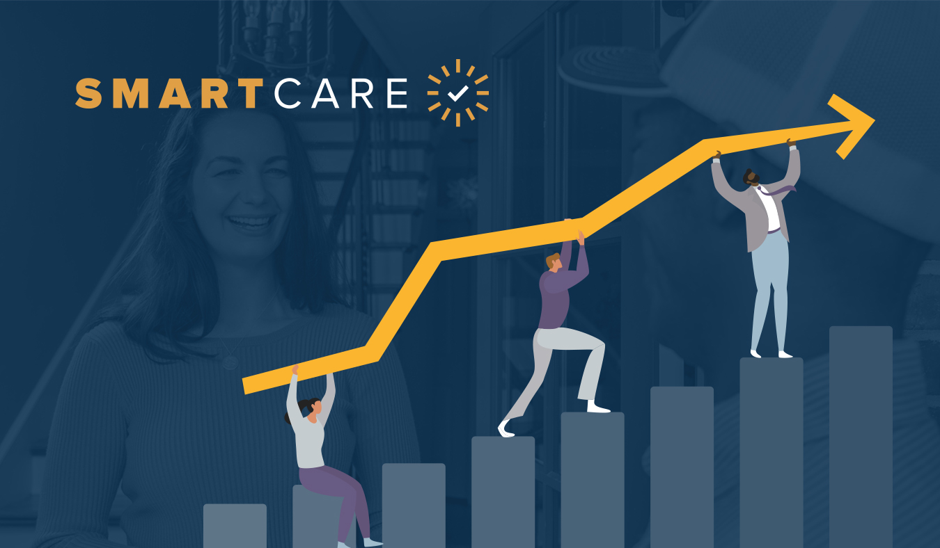 SmartCare branded graphic showing success